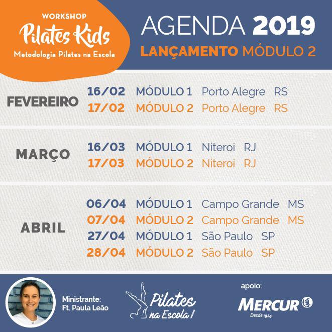 Workshop Pilates Kids - Agenda 2019/1
