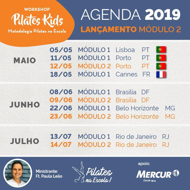 Workshop Pilates Kids - Agenda 2019/2